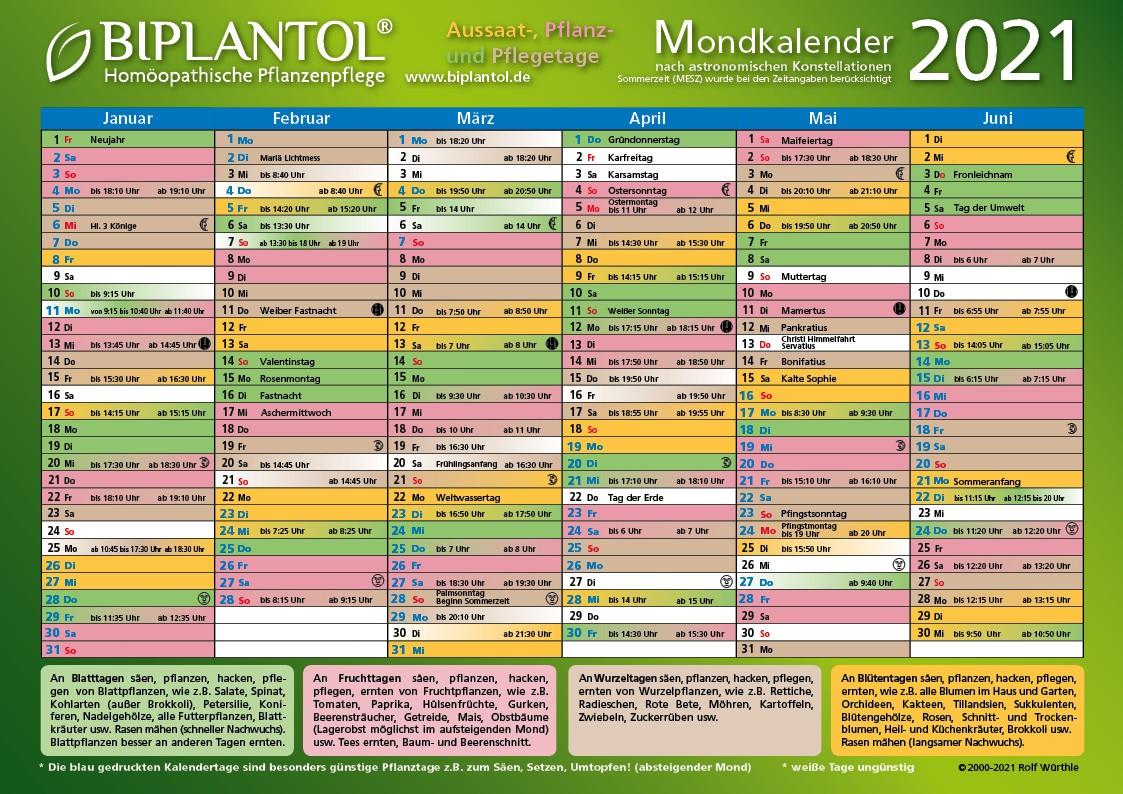 BIPLANTOL Mondkalender 2021