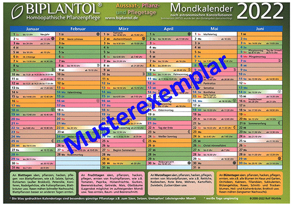 BIPLANTOL Mondkalender 2022
